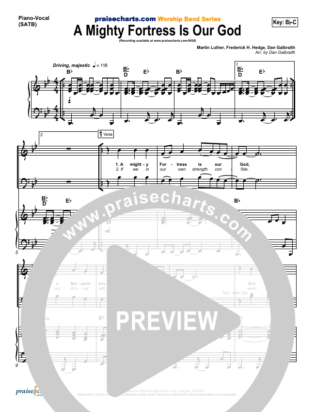 A Mighty Fortress Is Our God Piano/Vocal (SATB) (PraiseCharts Band / Arr. Dan Galbraith)
