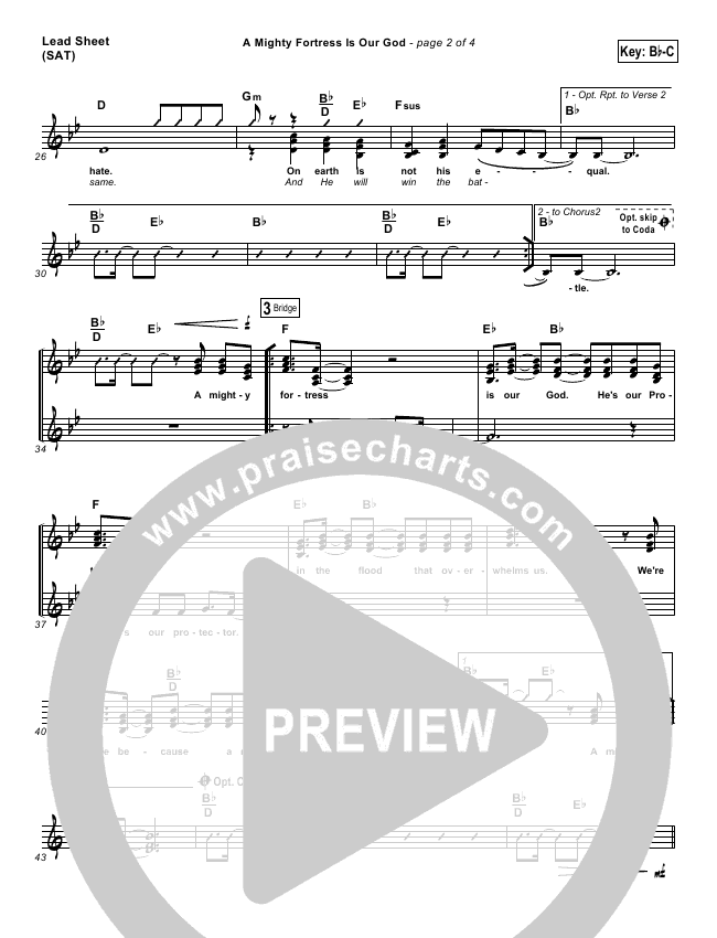 A Mighty Fortress Is Our God Lead & Piano/Vocal (PraiseCharts Band / Arr. Dan Galbraith)