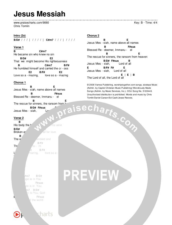Jesus Messiah Chord Chart (Chris Tomlin)