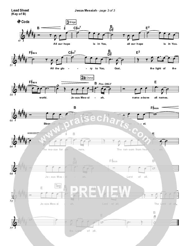Jesus Messiah Lead Sheet (Melody) (Chris Tomlin)