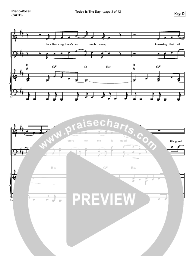 Today Is The Day Piano/Vocal (SATB) (Lincoln Brewster)