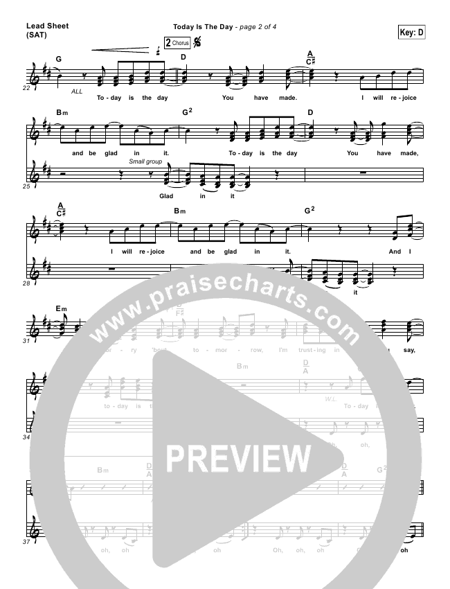 Today Is The Day Piano/Vocal Pack (Lincoln Brewster)