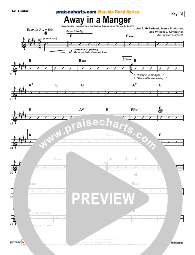Away In A Manger Rhythm Chart (Casting Crowns)