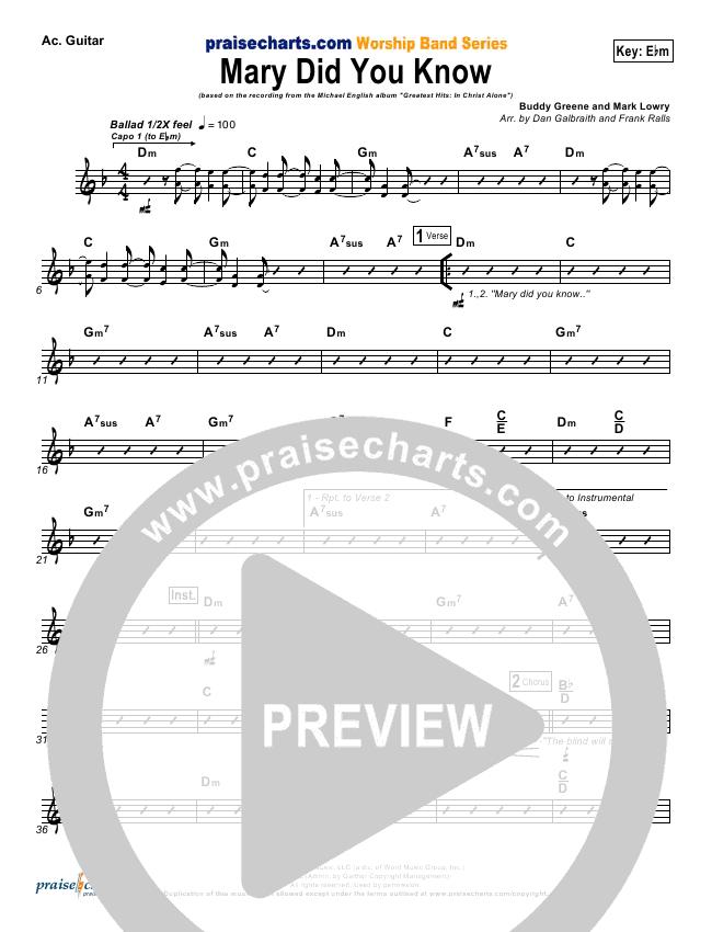 Mary Did You Know Rhythm Chart (Michael English)