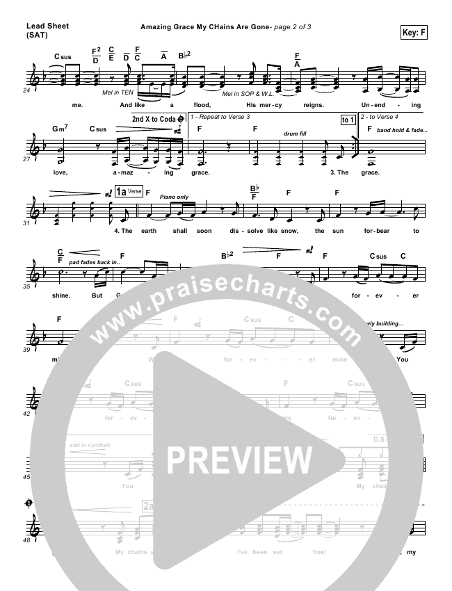 Amazing Grace (My Chains Are Gone) Lead Sheet & Piano/Vocal ...