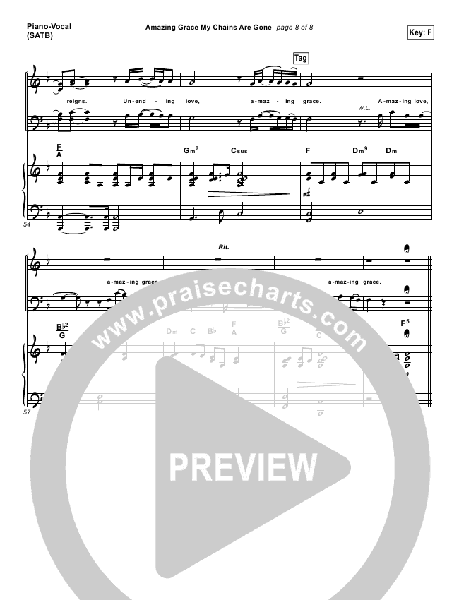 Amazing Grace My Chains Are Gone Lead Sheet Pianovocal