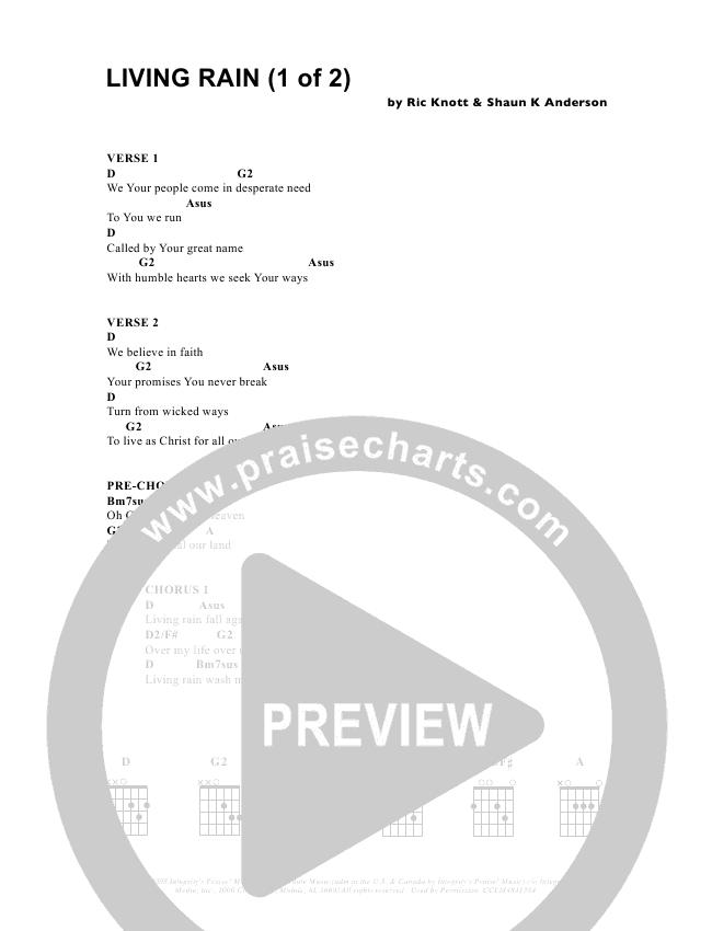 Living Rain Chord Chart (Parachute Band)