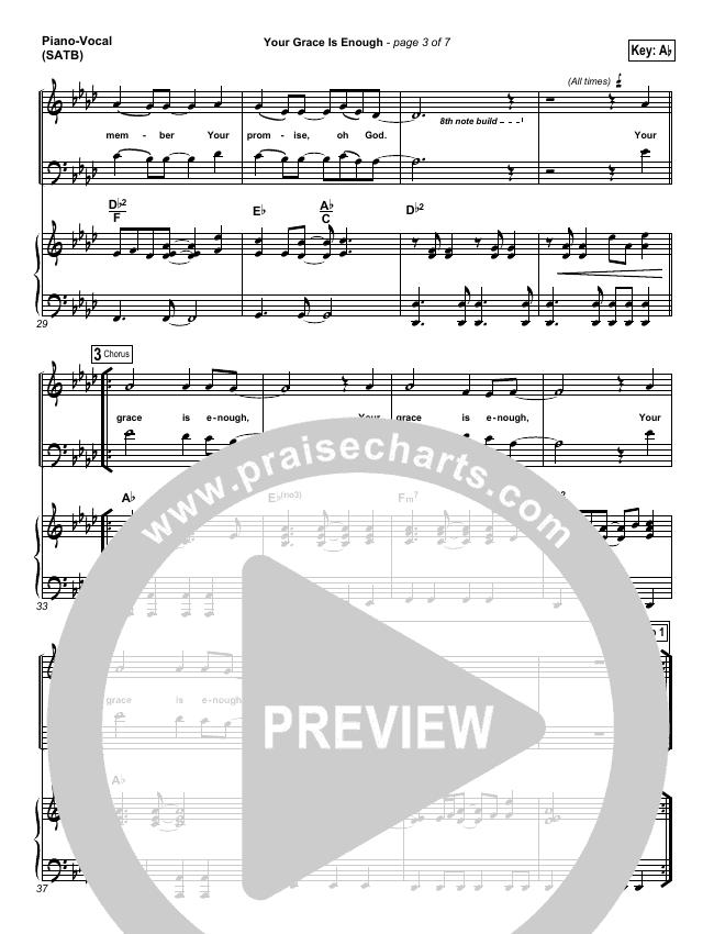 Your Grace Is Enough Piano/Vocal (SATB) (Matt Maher)