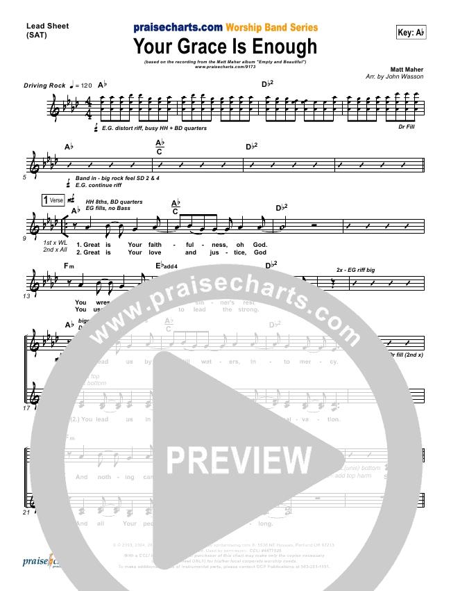 Your Grace Is Enough Lead & Piano/Vocal (Matt Maher)