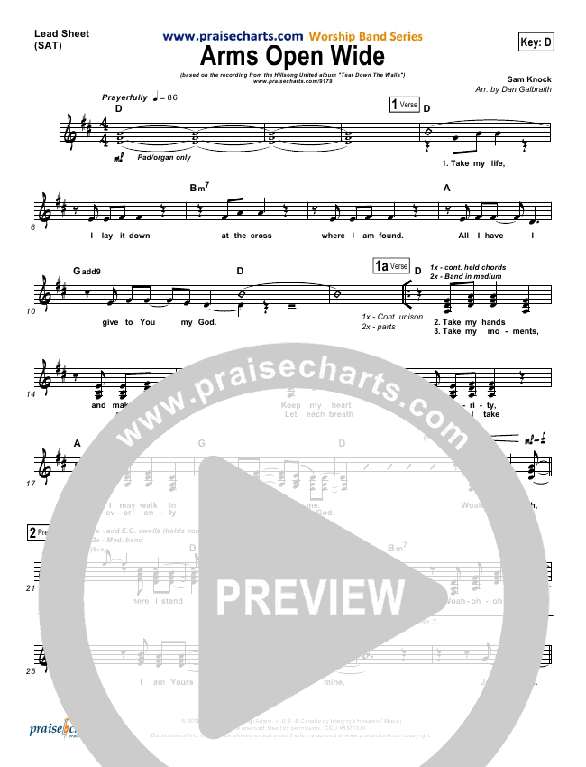 Arms Open Widelead Sheet Pianovocal Hillsong United Praisecharts