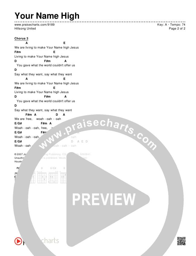 Your Name High Chords & Lyrics (Hillsong UNITED)