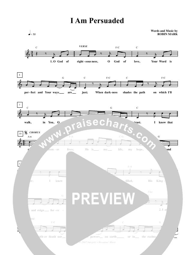 I Am Persuaded Lead & Piano (Robin Mark)