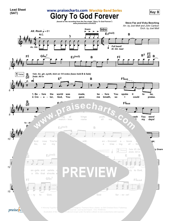 Glory To God Forever Lead Sheet (SAT) (FEE Band)