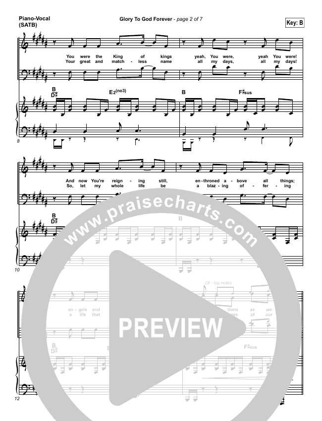 Glory To God Forever Piano/Vocal (SATB) (FEE Band)