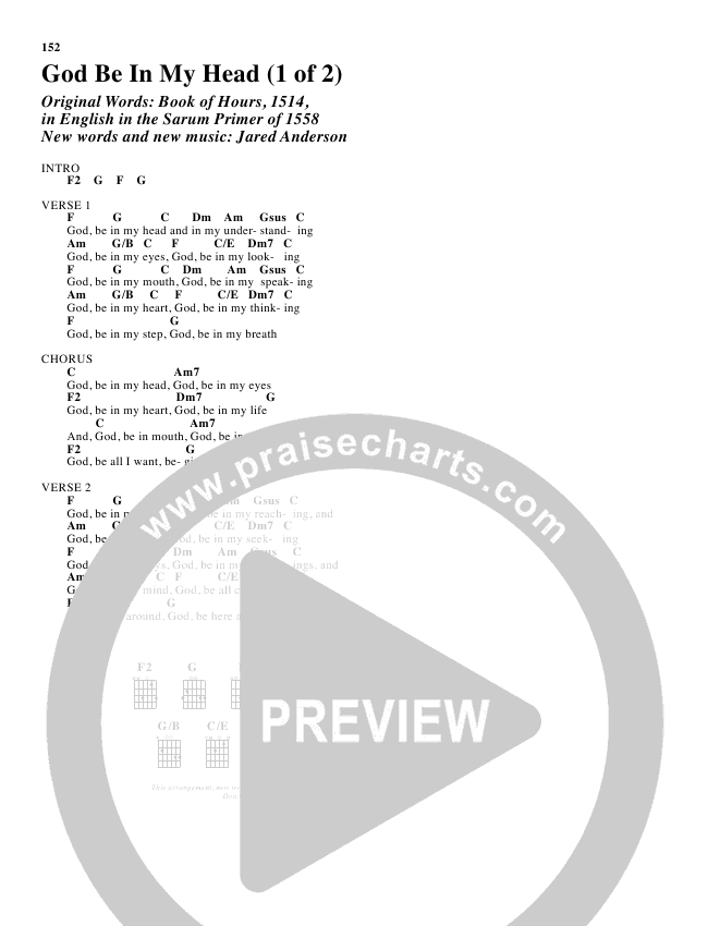 God Be In My Head Chords - Jared Anderson | PraiseCharts