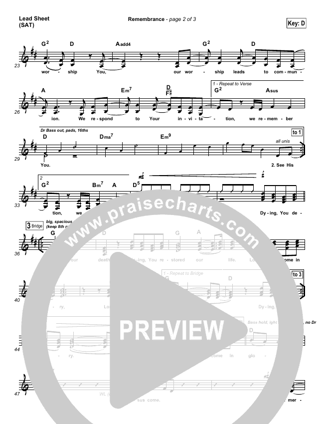 Remembrance Lead Sheet (SAT) (Matt Redman)