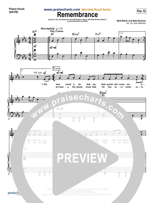 Remembrance Piano/Vocal (SATB) (Matt Redman)