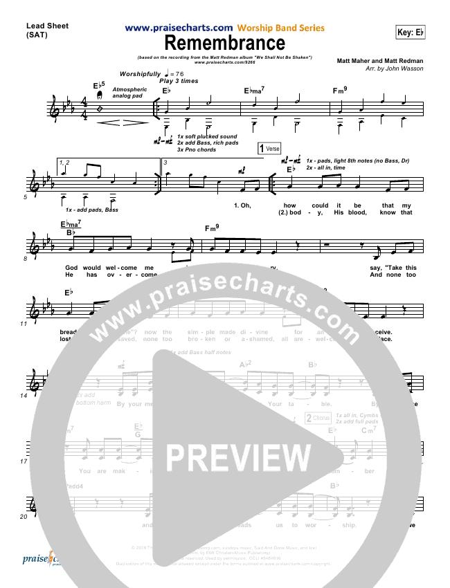 Remembrance Lead Sheet Pianovocal Matt Redman Praisecharts