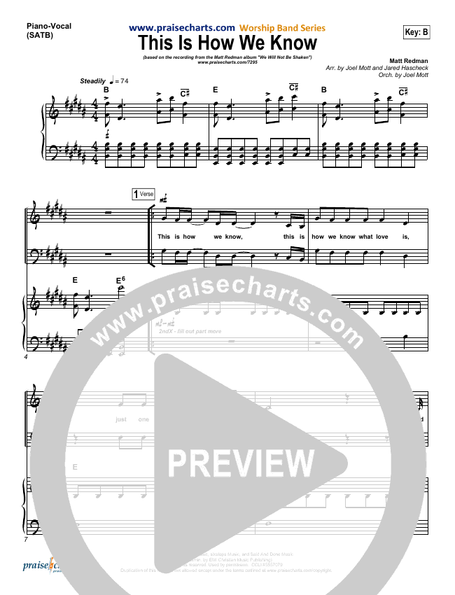 This Is How We Know Piano/Vocal (SATB) (Matt Redman)