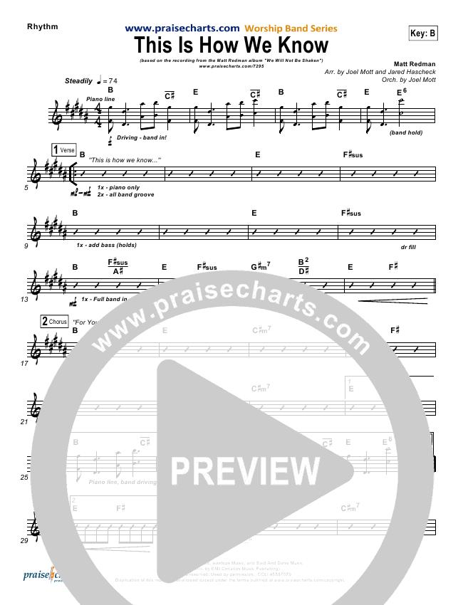 This Is How We Know Rhythm Chart (Matt Redman)