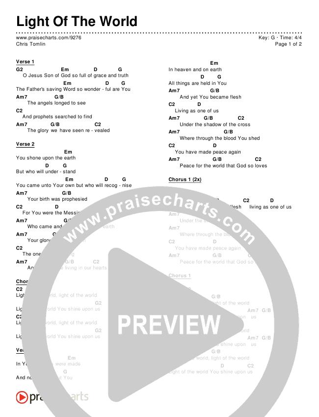 Light Of The World Chords & Lyrics (Chris Tomlin)