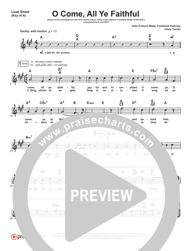 O Come All Ye Faithful Lead Sheet (Melody) (Chris Tomlin)