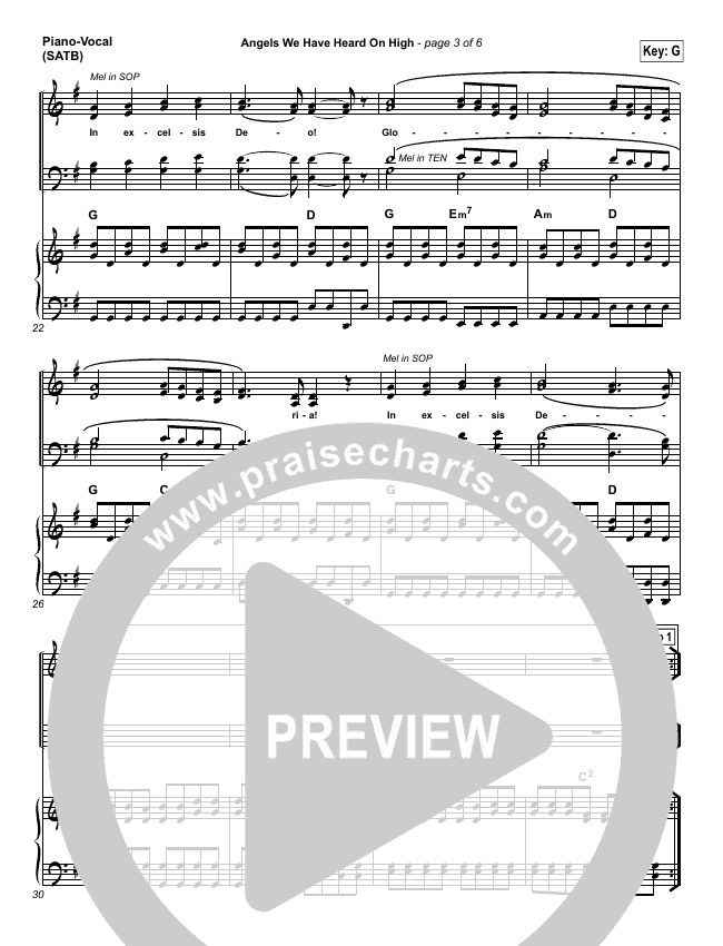 Angels We Have Heard On High Piano/Vocal (SATB) (Chris Tomlin)