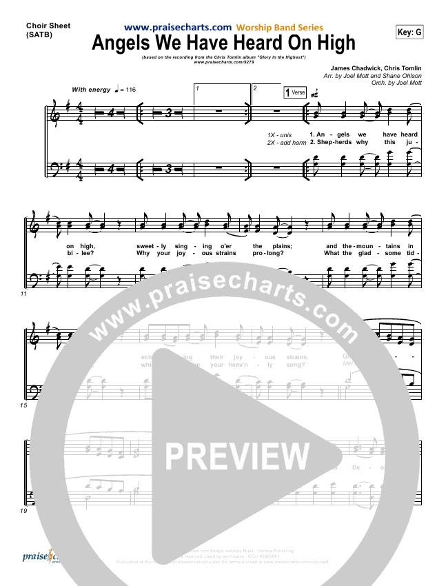 Angels We Have Heard On High Choir Sheet (SATB) (Chris Tomlin)
