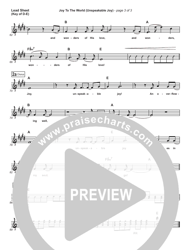 Joy To The World (Unspeakable Joy) Lead Sheet (Melody) (Chris Tomlin)