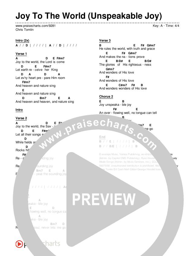 Joy To The World (Unspeakable Joy) Chords & Lyrics (Chris Tomlin)
