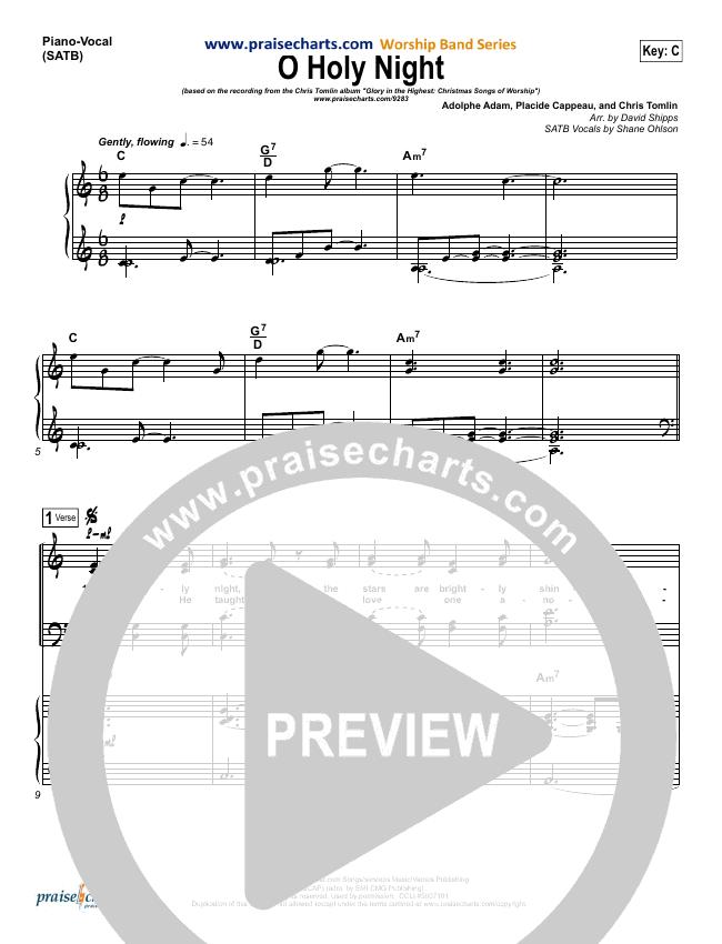 O Holy Night Piano/Vocal (SATB) (Chris Tomlin)