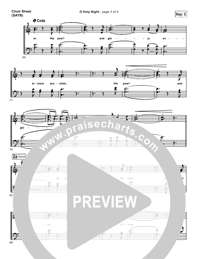 O Holy Night Choir Sheet (SATB) (Chris Tomlin)