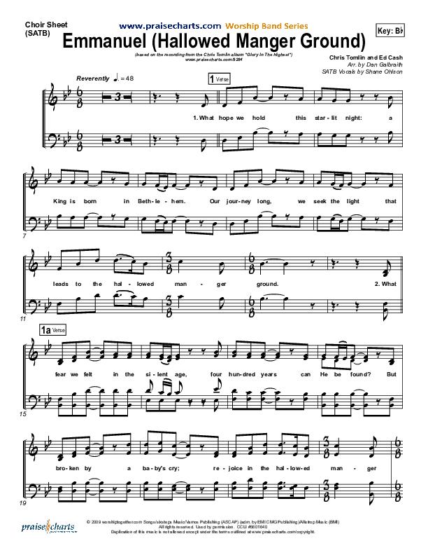 Emmanuel (Hallowed Manger Ground) Choir Sheet (SATB) (Chris Tomlin)