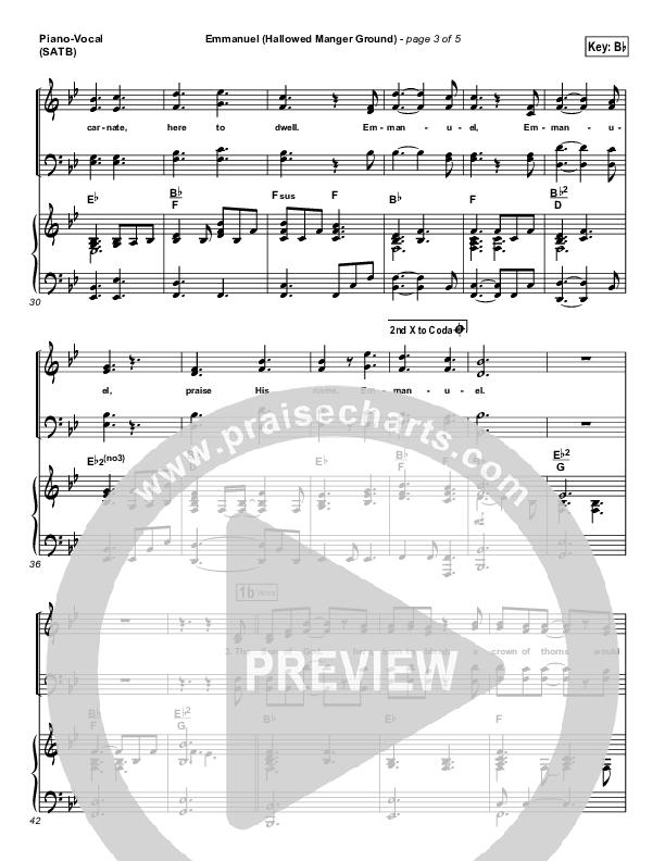 Emmanuel (Hallowed Manger Ground) Piano/Vocal (SATB) (Chris Tomlin)