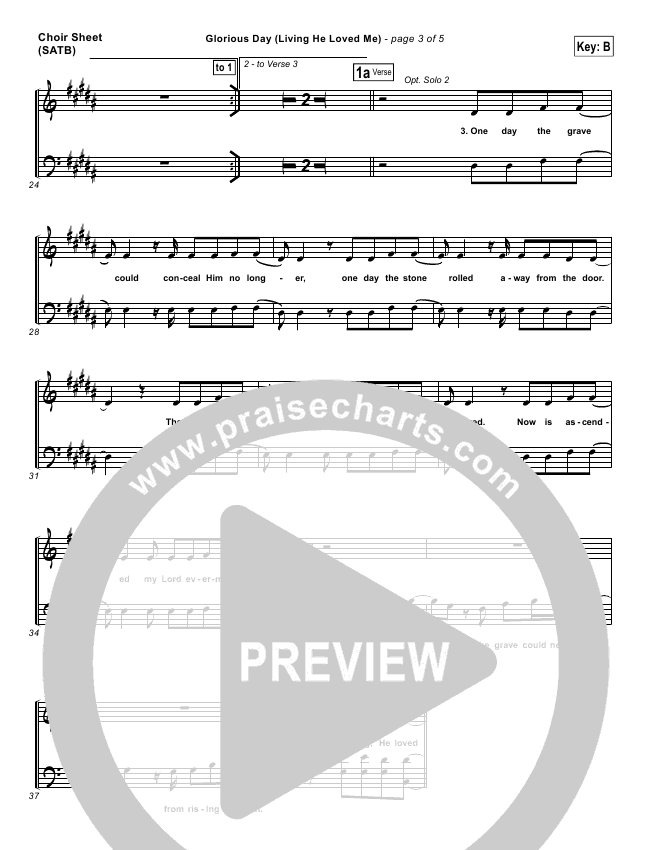 Glorious Day (Living He Loved Me) Choir Sheet (SATB) (Casting Crowns)