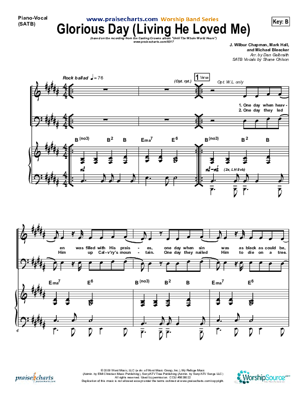 Glorious Day (Living He Loved Me) Piano/Vocal (SATB) (Casting Crowns)