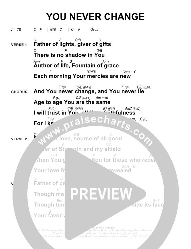You Never Change Chords Sovereign Grace Praisecharts
