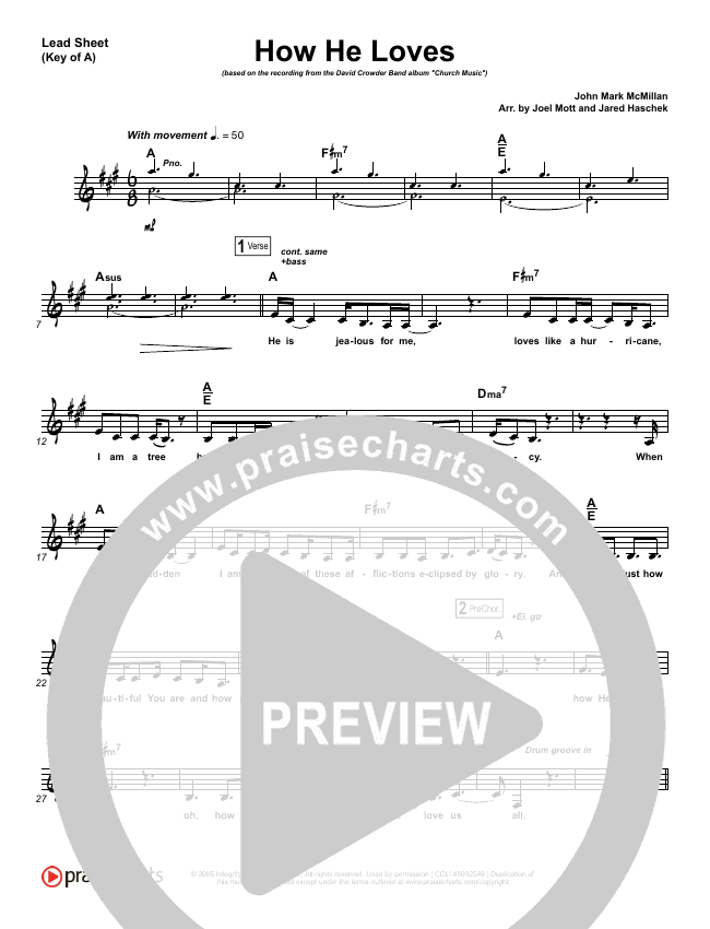 How He Loves Lead Sheet (Melody) (David Crowder)