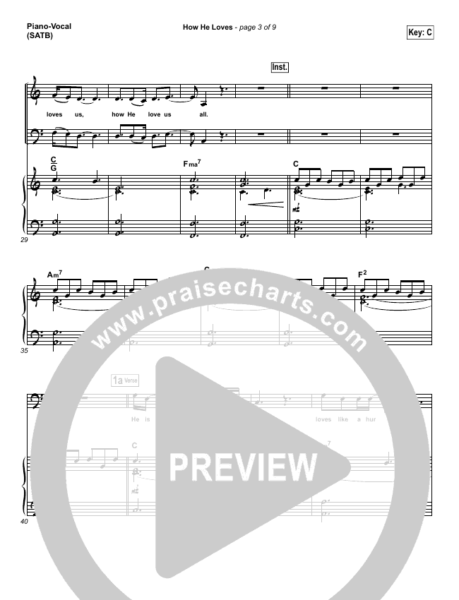 How He Loves Piano/Vocal (SATB) (David Crowder)