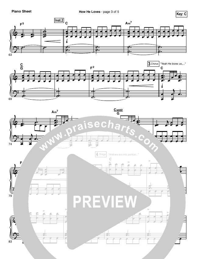 How He Loves Piano Sheet (David Crowder)