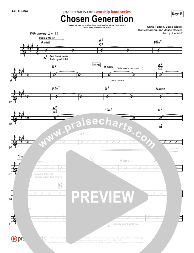 Chosen Generation Rhythm Chart - Chris Tomlin, Passion | PraiseCharts