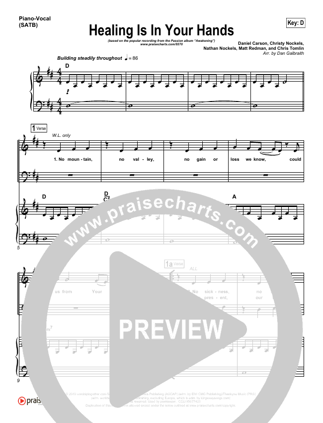 Healing Is In Your Hands Piano/Vocal (SATB) (Christy Nockels / Passion)