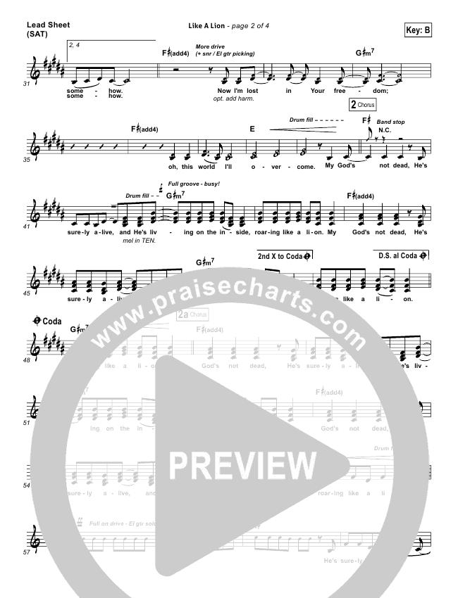 Like A Lion Lead Sheet & Piano/Vocal - David Crowder