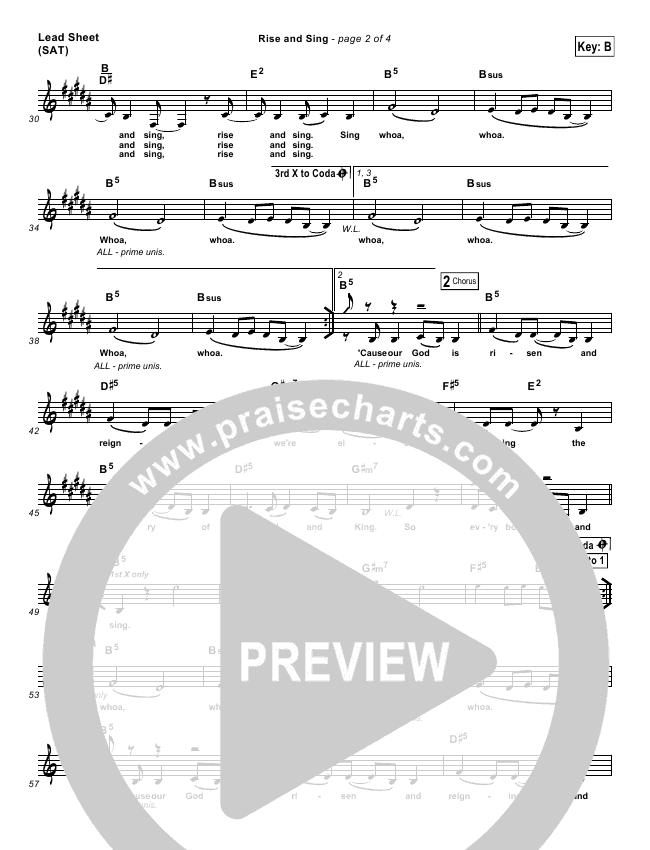 Rise And Sing Lead & Piano/Vocal (FEE Band / Passion)