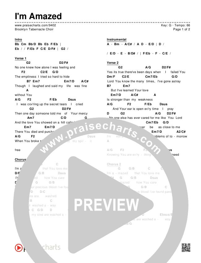 I\'m Amazed Chords - Brooklyn Tabernacle Choir | PraiseCharts