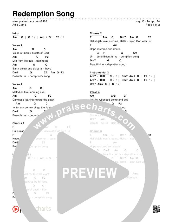 Redemption Song Chords Adie Camp Praisecharts