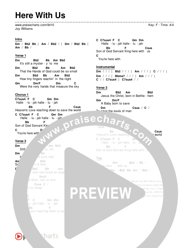 Here With Us Chords Joy Williams Praisecharts